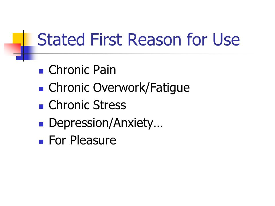 Stated First Reason for Use