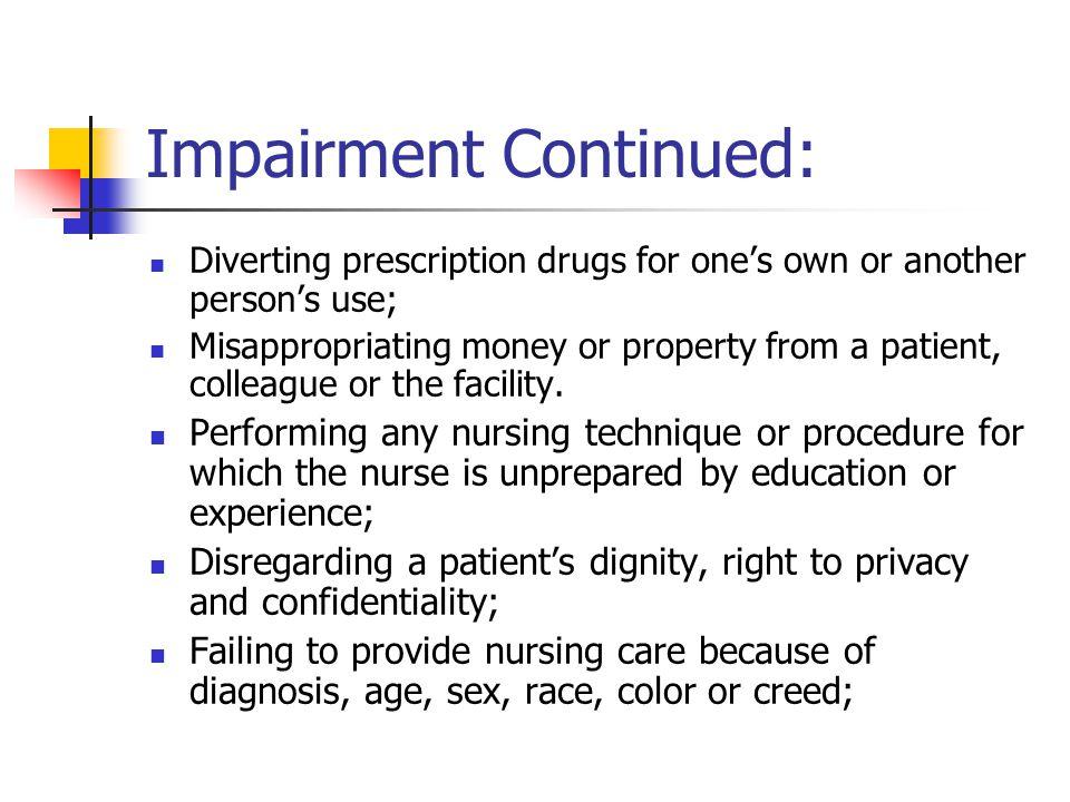 Impairment Continued: