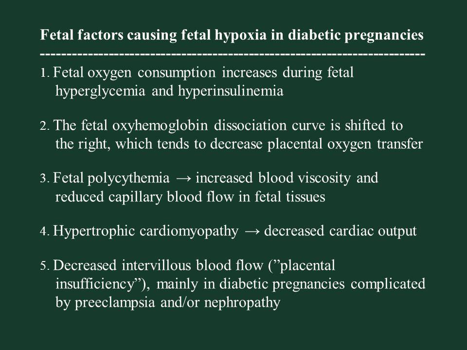 Fetal factors causing fetal hypoxia in diabetic pregnancies -------------------------------------------------------------------------- 1.