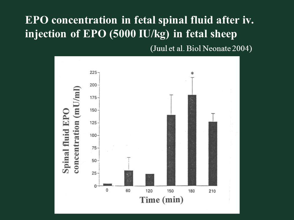 EPO concentration in fetal spinal fluid after iv