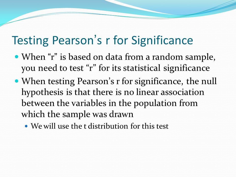 Testing Pearson's r for Significance