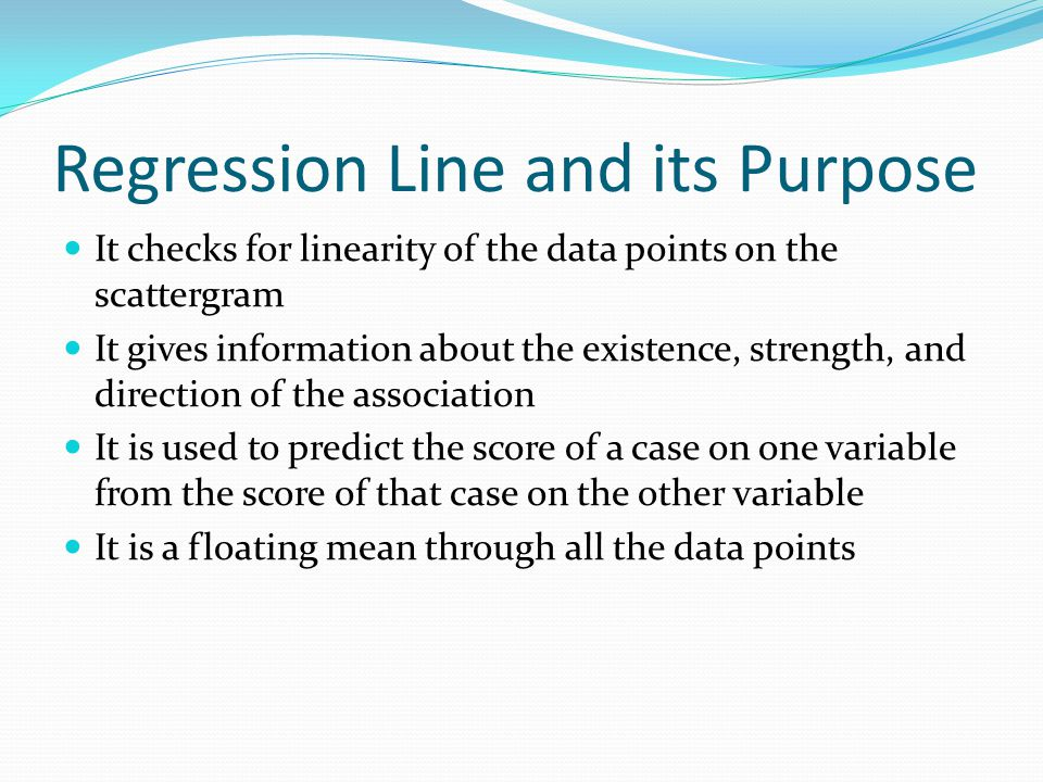 Regression Line and its Purpose