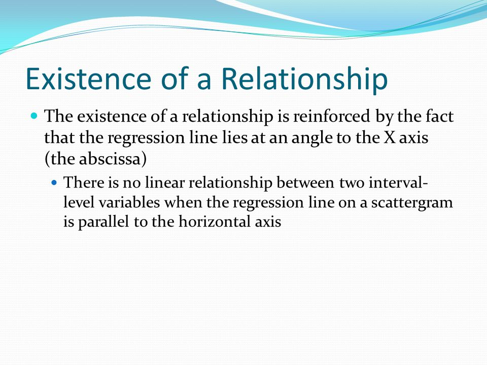 Existence of a Relationship
