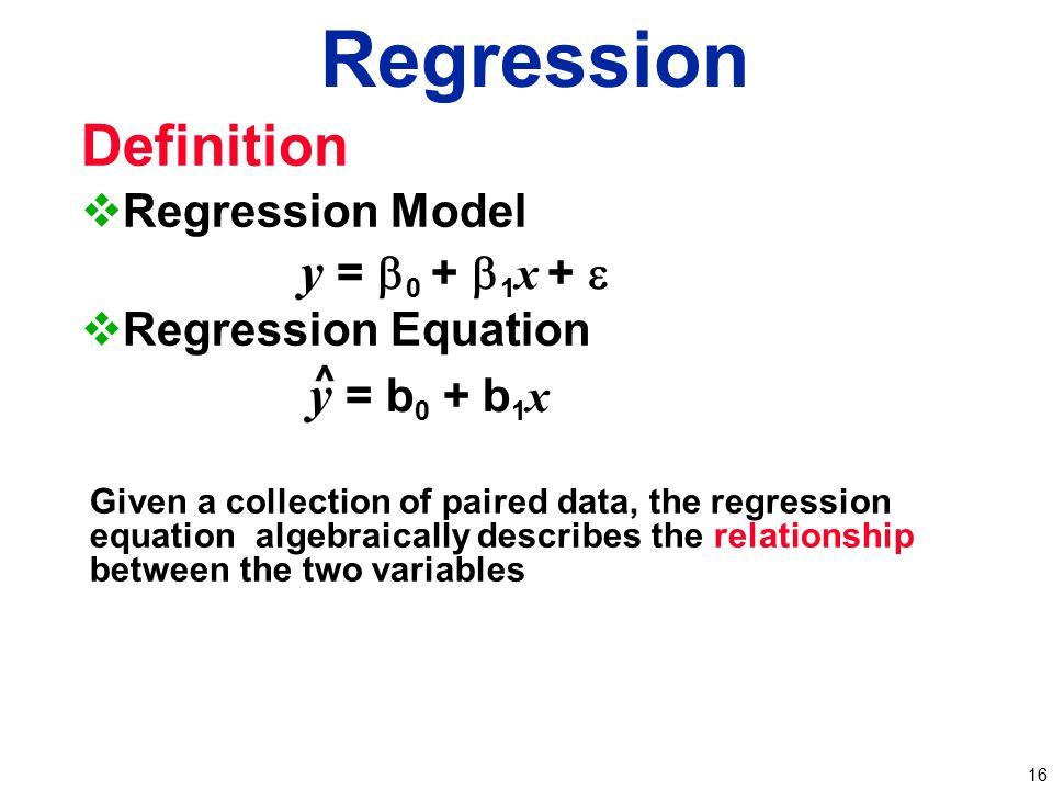 Regression Definition y = b0 + b1x + e y = b0 + b1x Regression Model