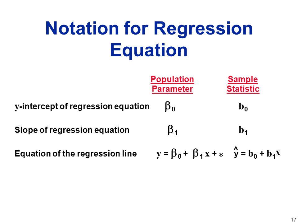Notation for Regression Equation