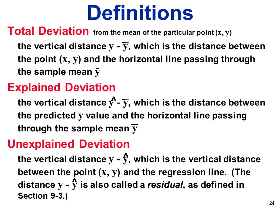 Definitions Total Deviation from the mean of the particular point (x, y)