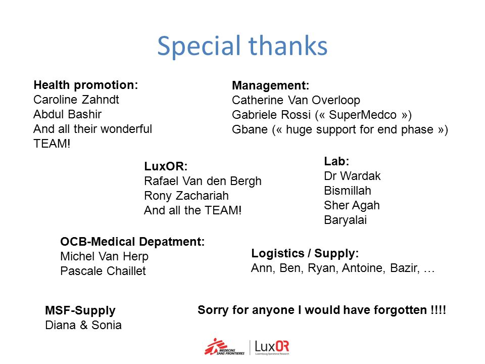 Special thanks Health promotion: Management: Caroline Zahndt