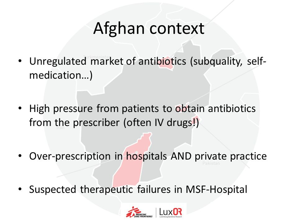 Afghan context Unregulated market of antibiotics (subquality, self-medication…)