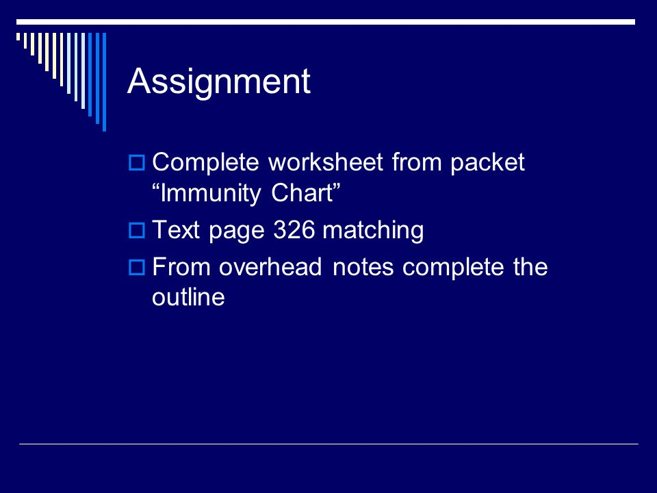 Assignment Complete worksheet from packet Immunity Chart