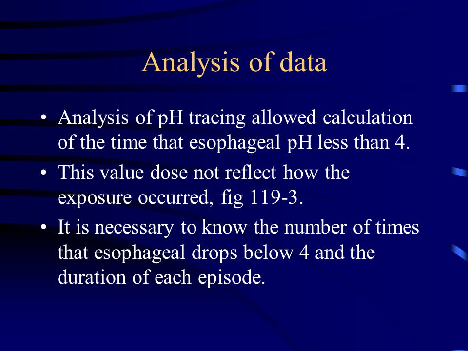 Analysis of data Analysis of pH tracing allowed calculation of the time that esophageal pH less than 4.