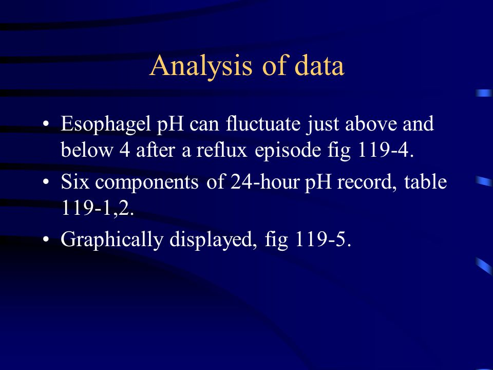 Analysis of data Esophagel pH can fluctuate just above and below 4 after a reflux episode fig 119-4.