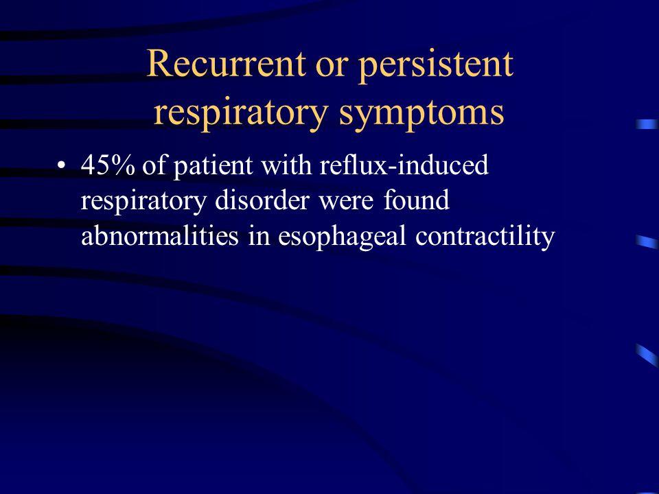 Recurrent or persistent respiratory symptoms