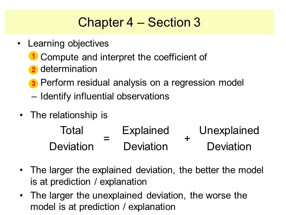 Chapter 4 – Section 3 Total Deviation = Explained + Unexplained