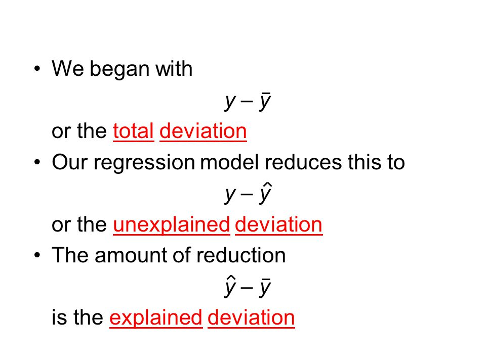 We began with y – y. or the total deviation. Our regression model reduces this to. or the unexplained deviation.