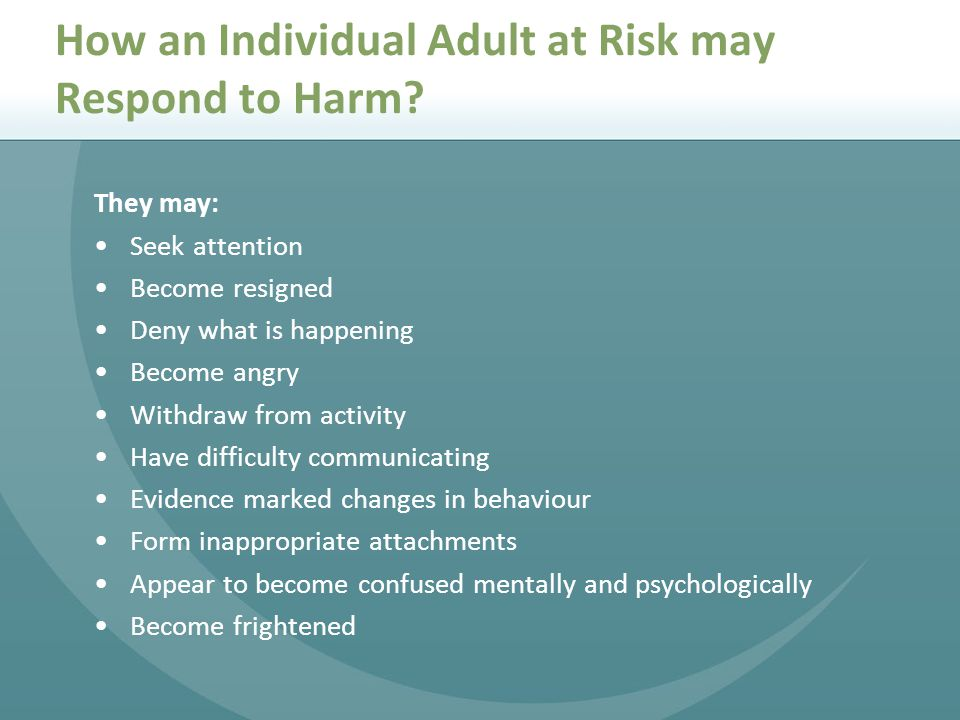 How an Individual Adult at Risk may Respond to Harm