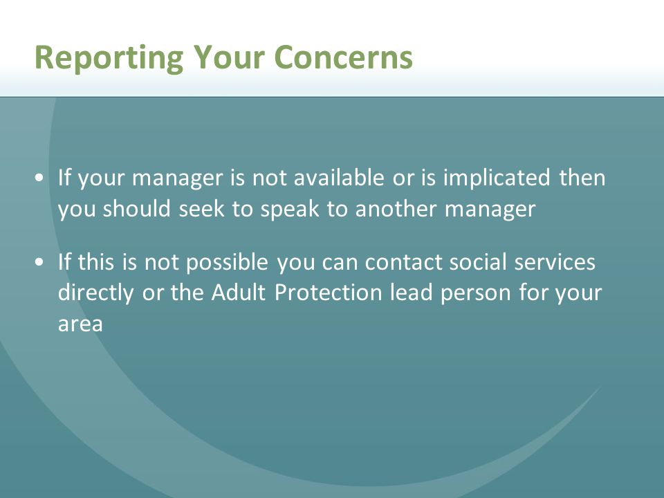 Reporting Your Concerns