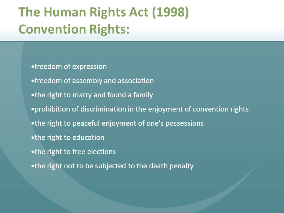 The Human Rights Act (1998) Convention Rights:
