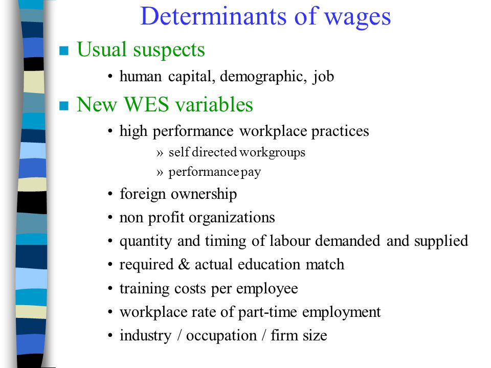 Determinants of wages Usual suspects New WES variables