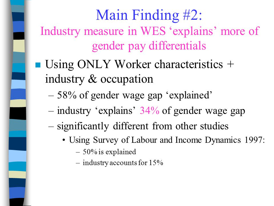 Main Finding #2: Industry measure in WES 'explains' more of gender pay differentials