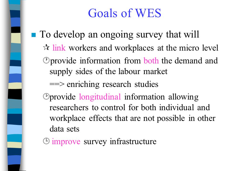 Goals of WES To develop an ongoing survey that will