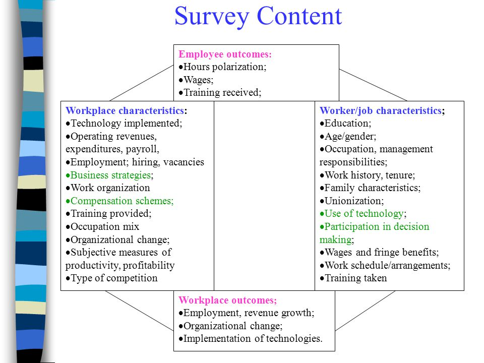 Survey Content Employee outcomes: Hours polarization; Wages;