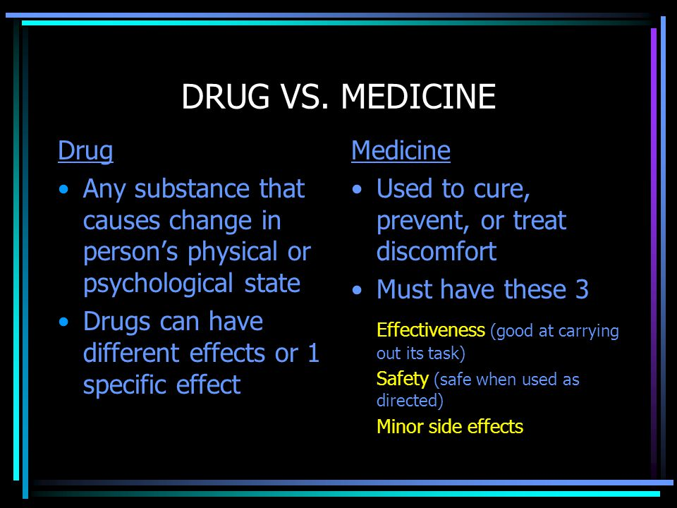 DRUG VS. MEDICINE Drug. Any substance that causes change in person's physical or psychological state.