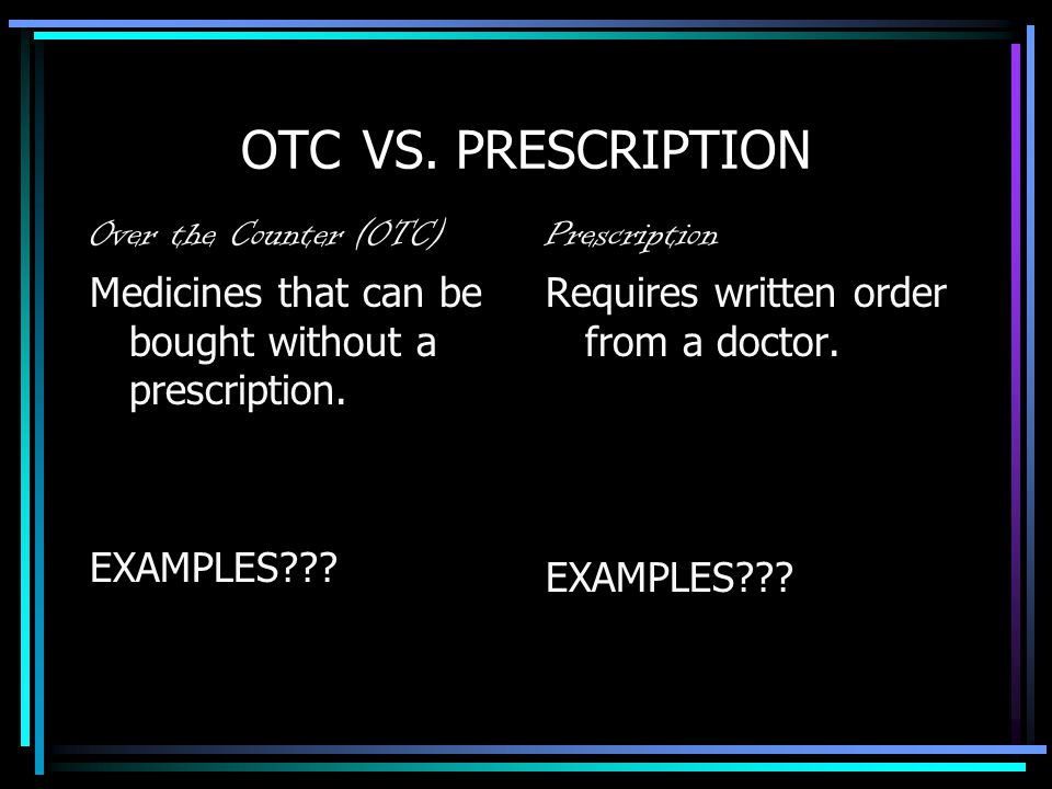 OTC VS. PRESCRIPTION Over the Counter (OTC)
