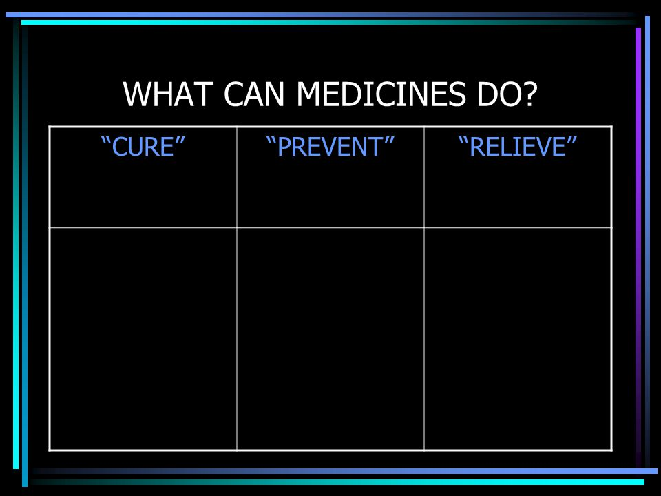 WHAT CAN MEDICINES DO CURE PREVENT RELIEVE