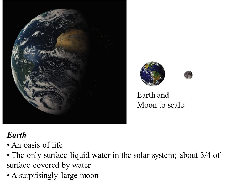 Earth and Moon to scale Earth. An oasis of life. The only surface liquid water in the solar system; about 3/4 of surface covered by water.