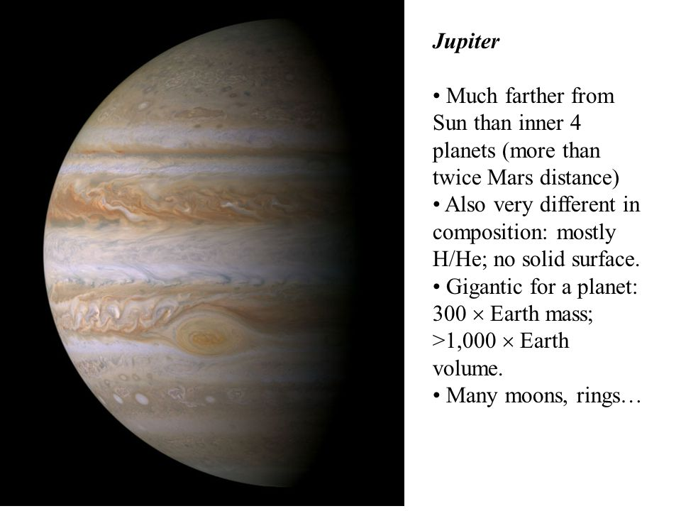 Jupiter Much farther from Sun than inner 4 planets (more than twice Mars distance)