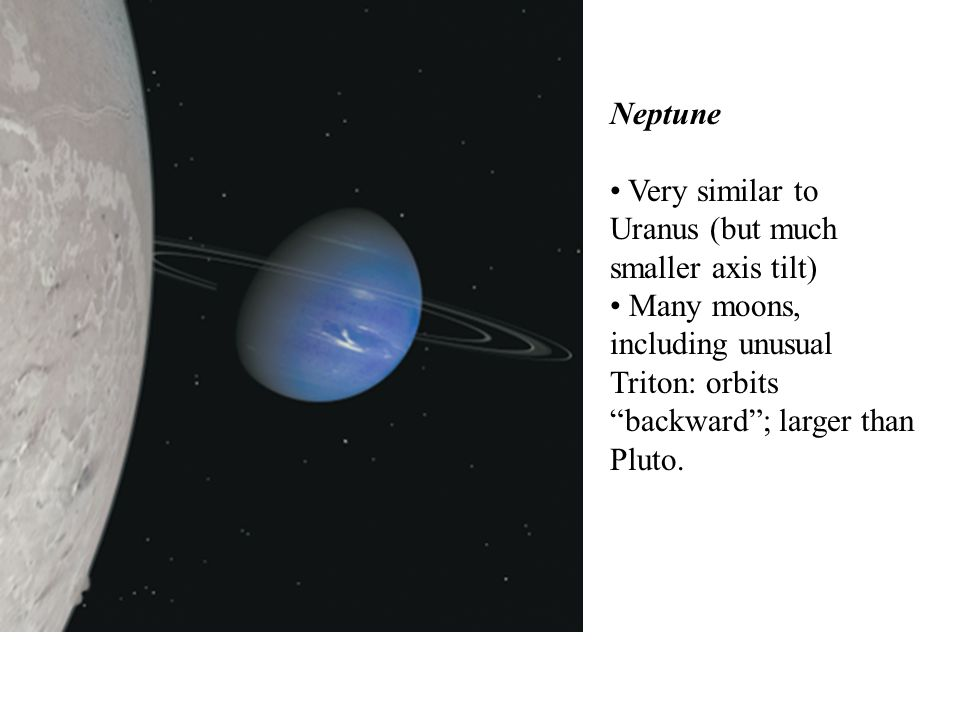 Very similar to Uranus (but much smaller axis tilt)