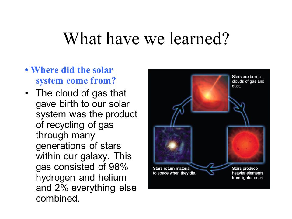 What have we learned • Where did the solar system come from