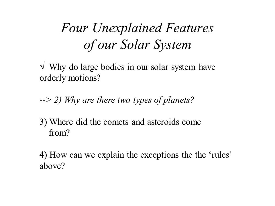 Four Unexplained Features of our Solar System