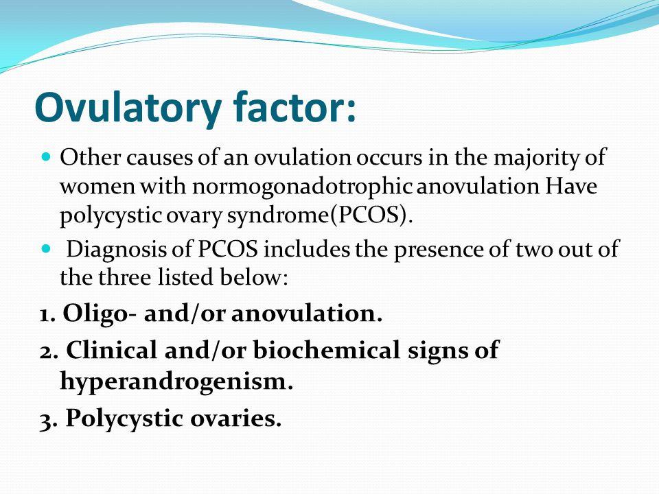 Ovulatory factor: 1. Oligo- and/or anovulation.