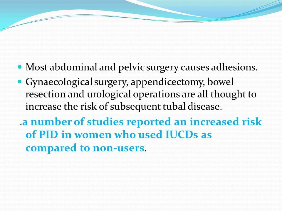 Most abdominal and pelvic surgery causes adhesions.