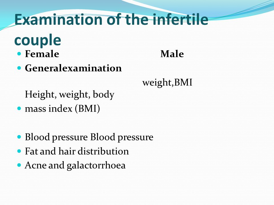Examination of the infertile couple
