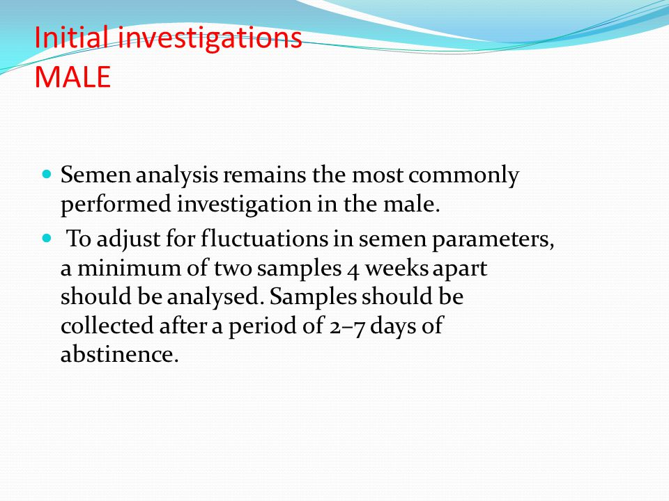 Initial investigations MALE
