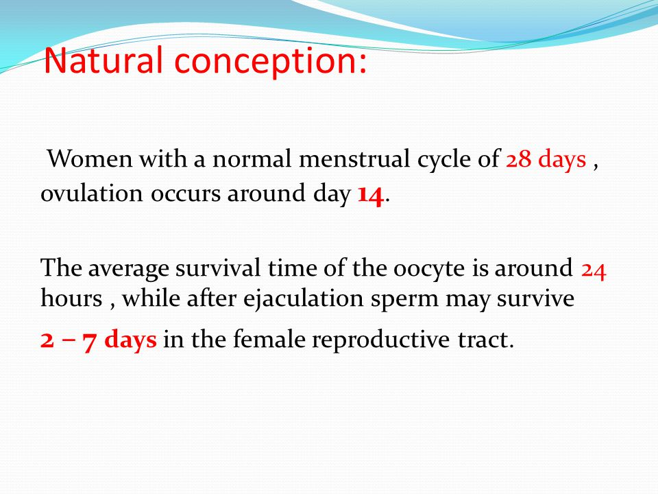 Natural conception: 2 – 7 days in the female reproductive tract.