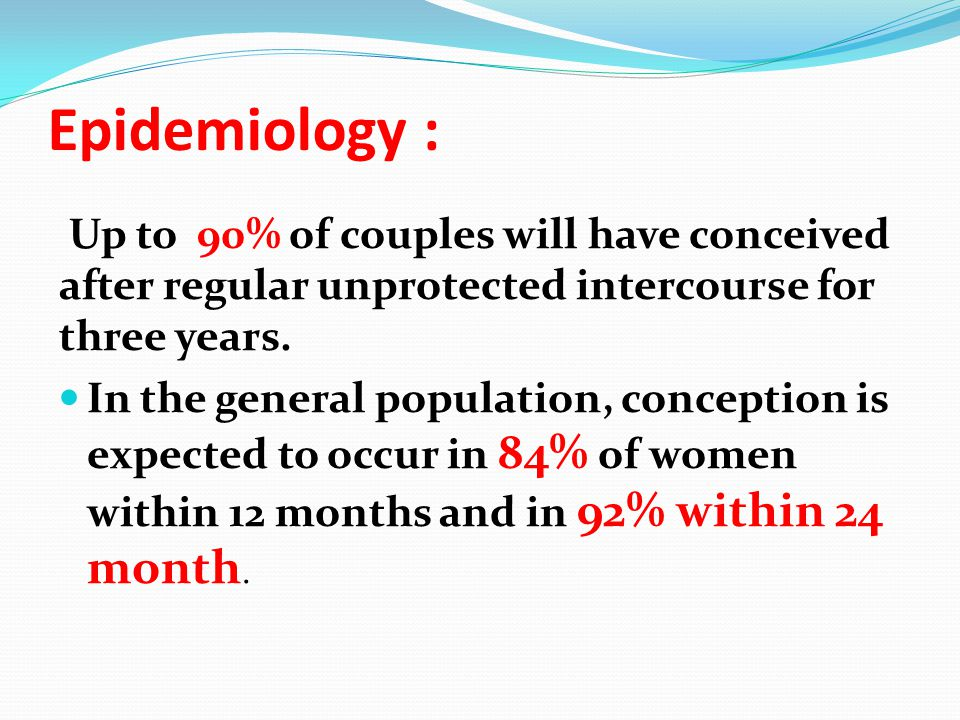 Epidemiology : Up to 90% of couples will have conceived after regular unprotected intercourse for three years.