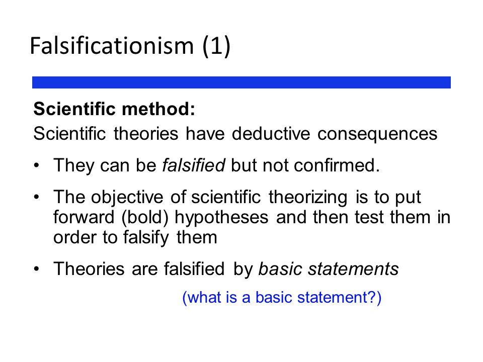 Falsificationism (1) Scientific method: