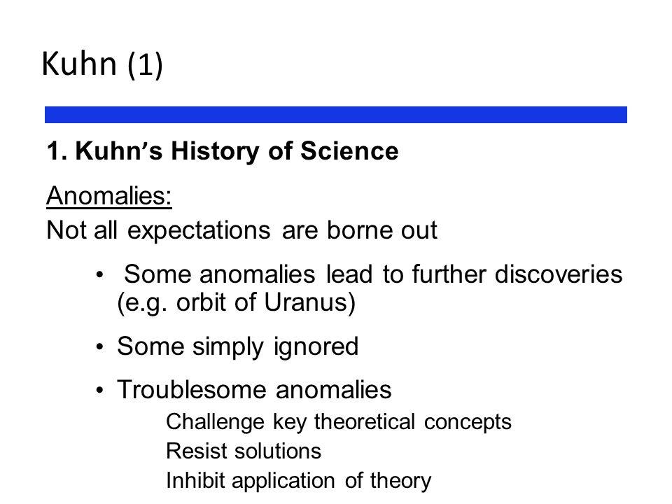 Kuhn (1) 1. Kuhn's History of Science Anomalies: