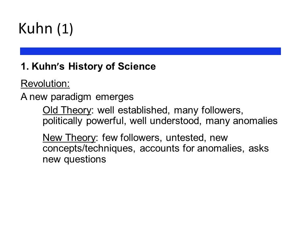 Kuhn (1) 1. Kuhn's History of Science Revolution: