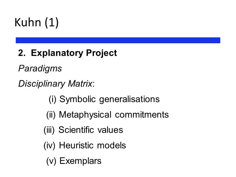 Kuhn (1) 2. Explanatory Project Paradigms Disciplinary Matrix: