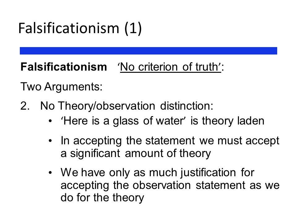 Falsificationism (1) Falsificationism 'No criterion of truth':