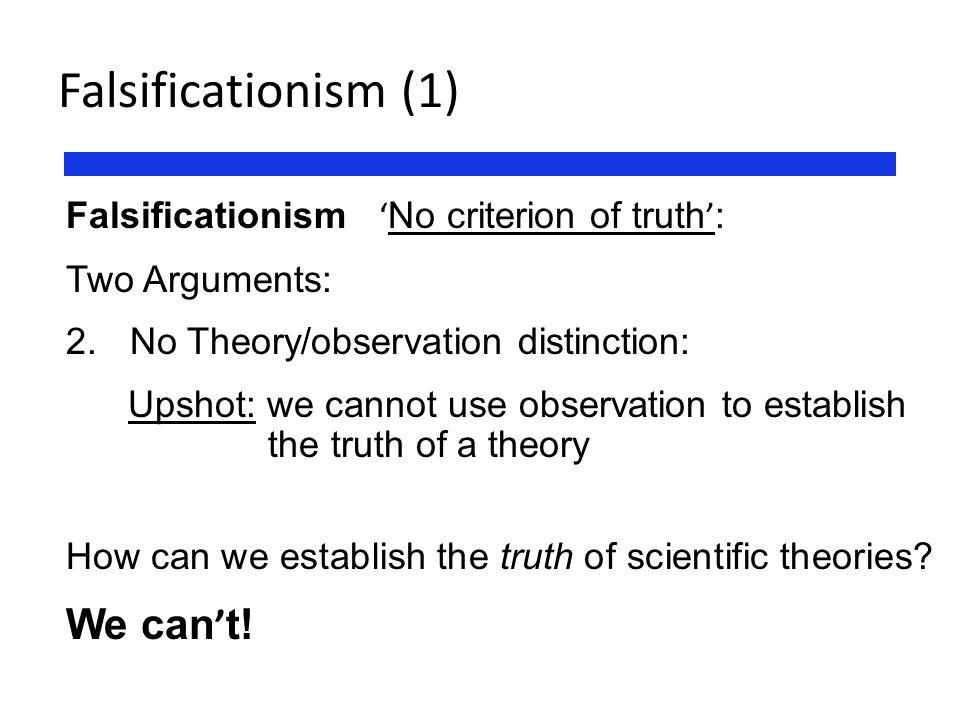 Falsificationism (1) We can't!
