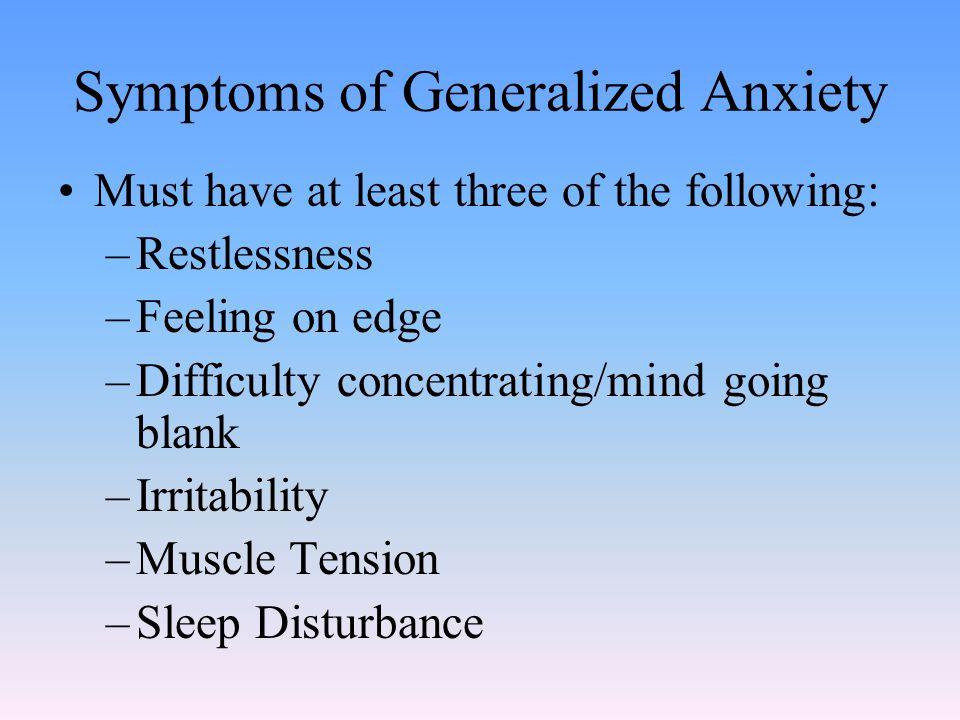 Symptoms of Generalized Anxiety
