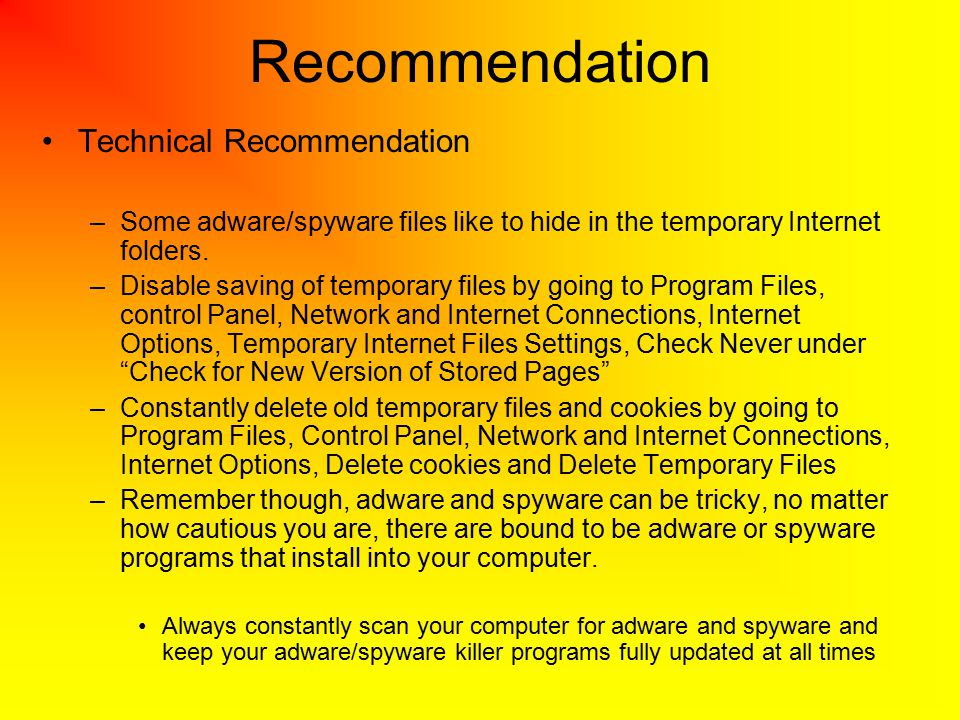 Recommendation Technical Recommendation