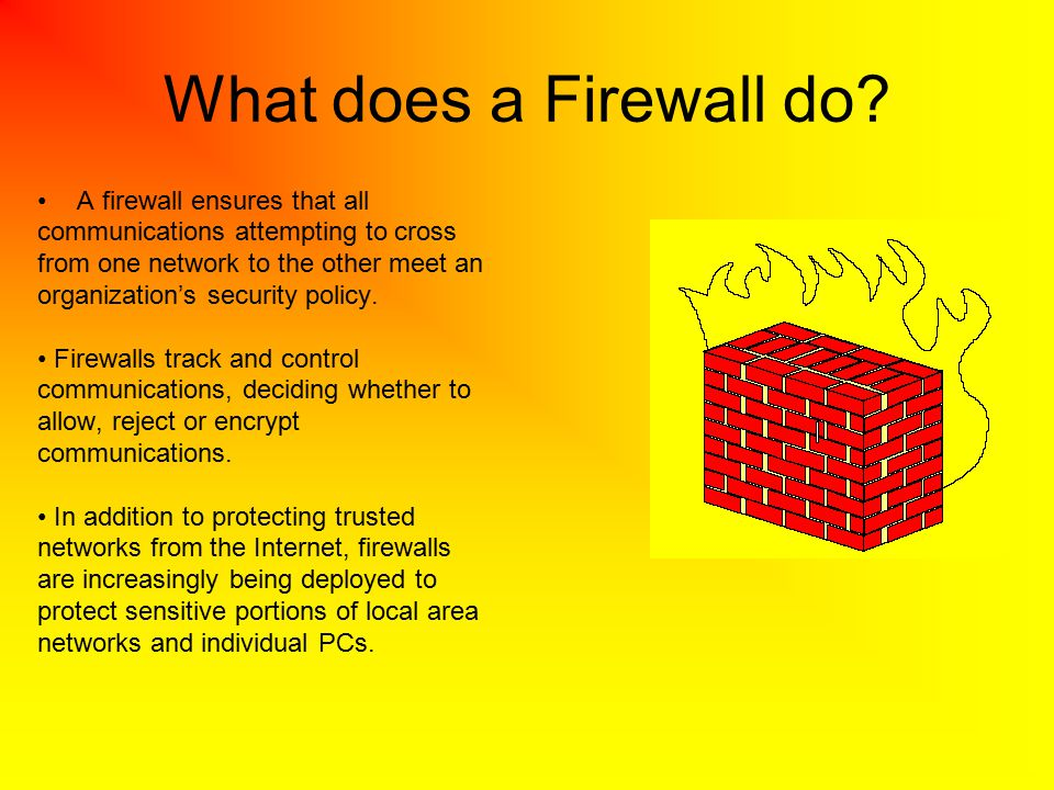 What does a Firewall do A firewall ensures that all
