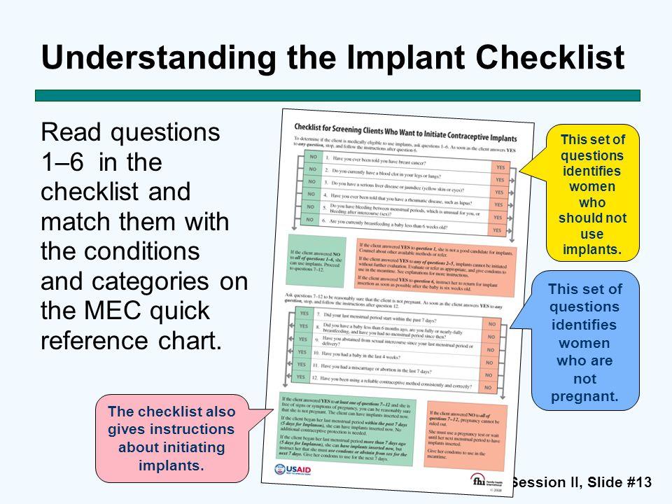 Understanding the Implant Checklist
