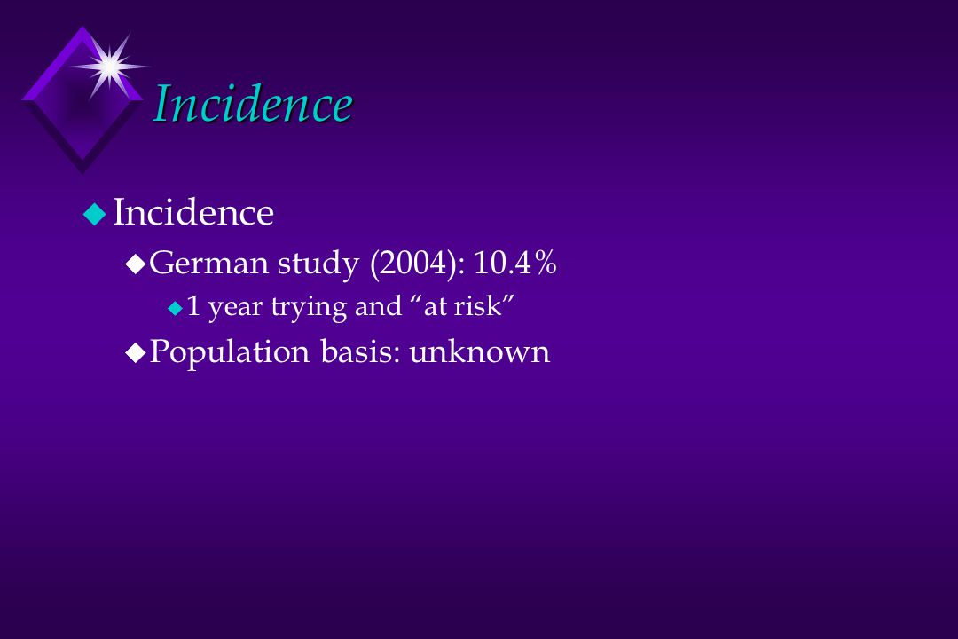 Incidence Incidence German study (2004): 10.4%
